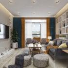 Scena wewnętrzna Apartament w stylu skandynawskim Salon