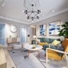 Hvit stue interiør scene nordisk stil