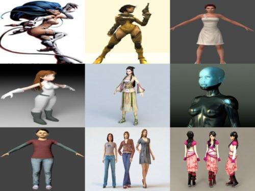 Chica de 10 personajes gratis OBJ Modelos 3D - Semana 2020-41