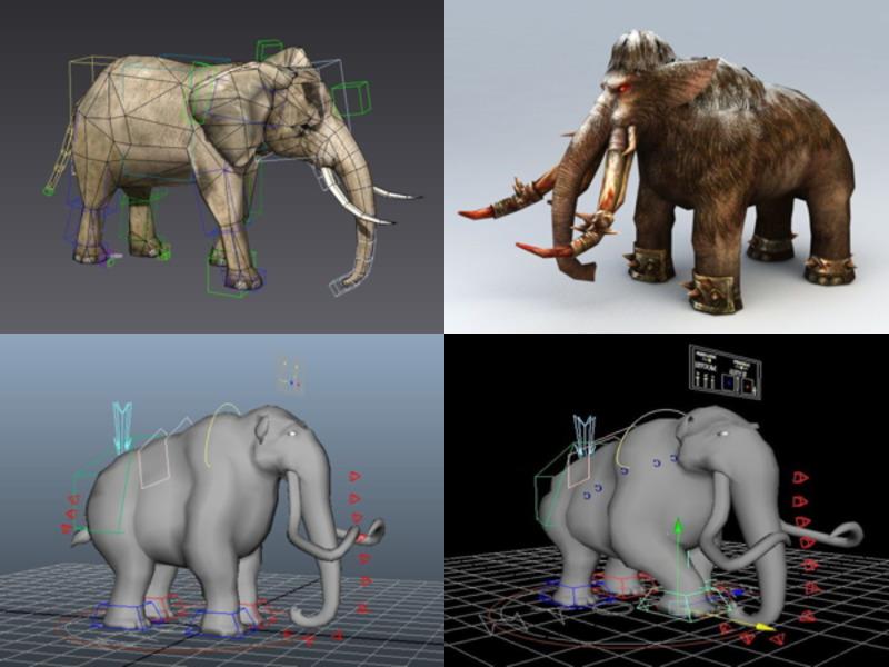 تنزيل 6 Elephant Rigged نماذج ثلاثية الأبعاد - الأسبوع 3-2020