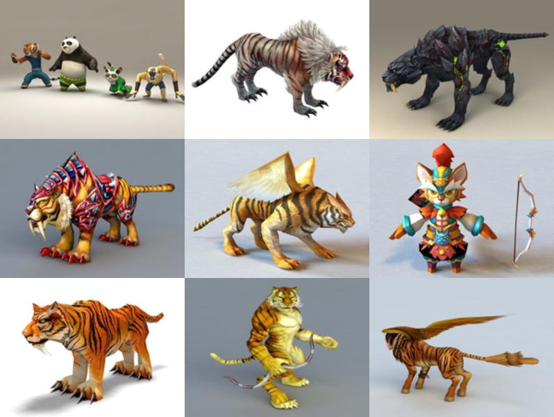 Los 10 mejores modelos 3D de personajes de tigre de dibujos animados - Semana 2020-43