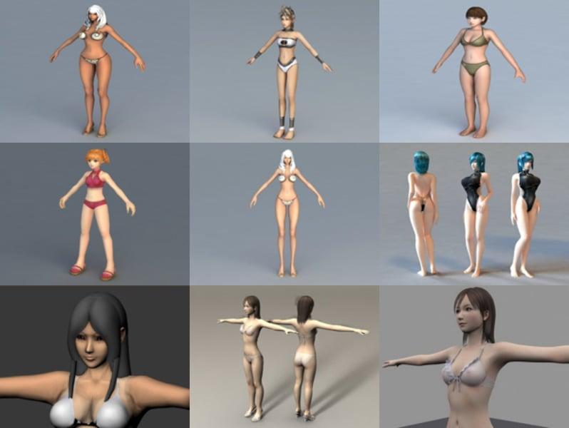 Top 12 Bikini Girl Free 3D Models Characters – Week 2020-43