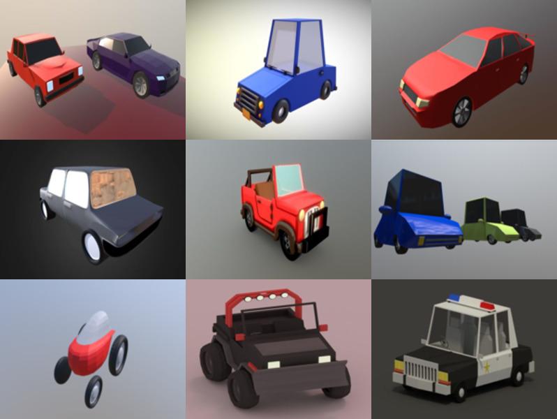 Top 12 Blender Cartoon Car Modelos 3D - Semana 2020-43