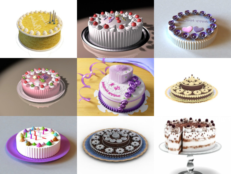 10 Beautiful Birthday Cake Free 3D Models Collection