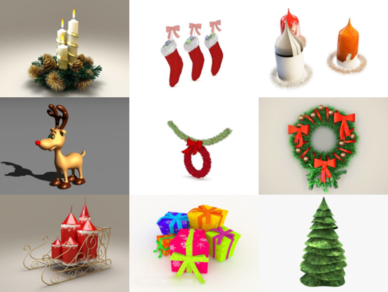 10 Christmas Decoration Free 3D Models Collection – Week 2020-46