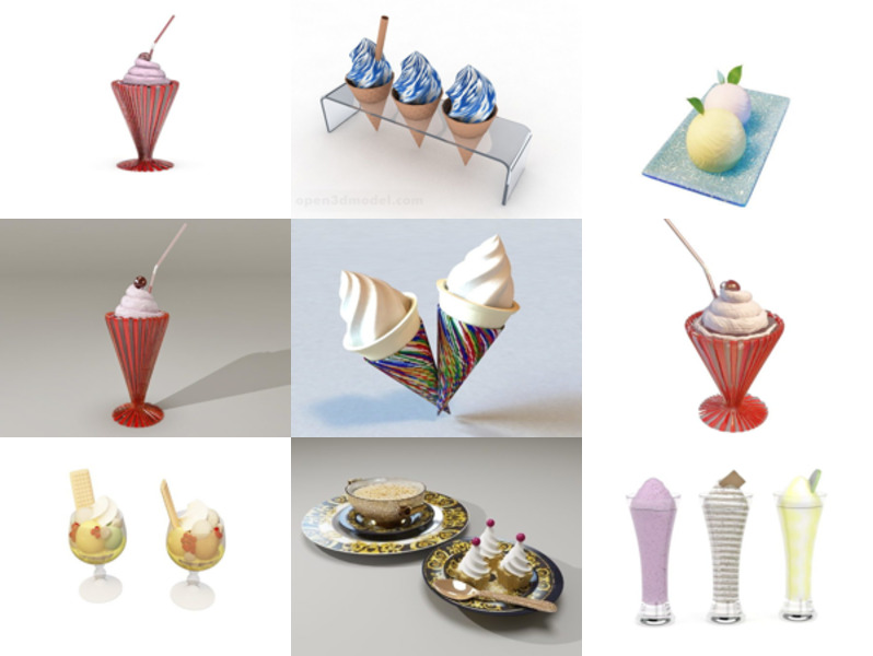 10 Ice Cream Free 3D Models Collection – Week 2020-46