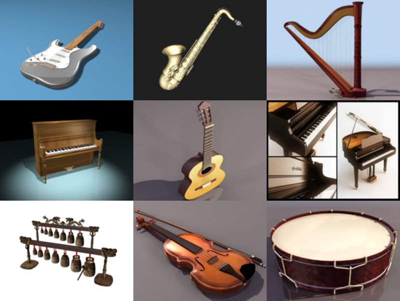 10 Music Instrument Free 3D Models Collection – Week 2020-46
