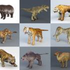 10 realistiske vilde dyr gratis 3D-modeller: Tigre, løver, bjørn, ulv, dino