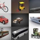 10 Køretøjsfri Blender 3D-modeller: bil, cykel, båd, skib ... realistisk & tegneserie design