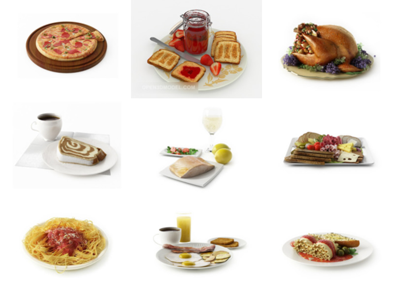 12 Breakfast Food Free 3D Models Collection