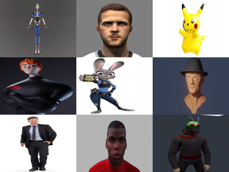 12 Character 3D Blender Models: Girl, Man, Robot, Anime, Cartoon and Realistic Style