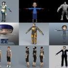12 Character Maya 3D Models Collection: Cartoon Girl, Man, with Rig