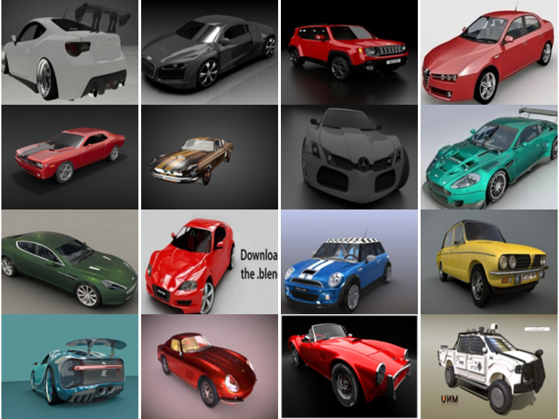 20 High Detailed Car Blender 3D Models: Ferrari, Bugatti, Audi, Mercedes, Aston Martin, Dodge Challenger