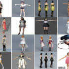 30 Files 3ds Max Character Free 3D Models: Beautiful Girl, Women in Realistic, Anime, Cartoon Style