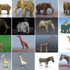 Gratis 3D-dyreliste af høj kvalitet: Elefant, giraf, zebra, med rig, realistisk & tegneseriestil