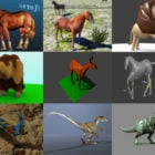 10 Animal Blender Free 3D Models: Horse, Lion, Elephant, Deer, Dinosaur, Peacock with Realistic & Cartoon Style