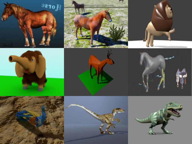 10 Animal Blender Free 3D Models: Horse, Lion, Elephant, Deer, Dinosaur, Peacock with Realistic & Cartoon Style