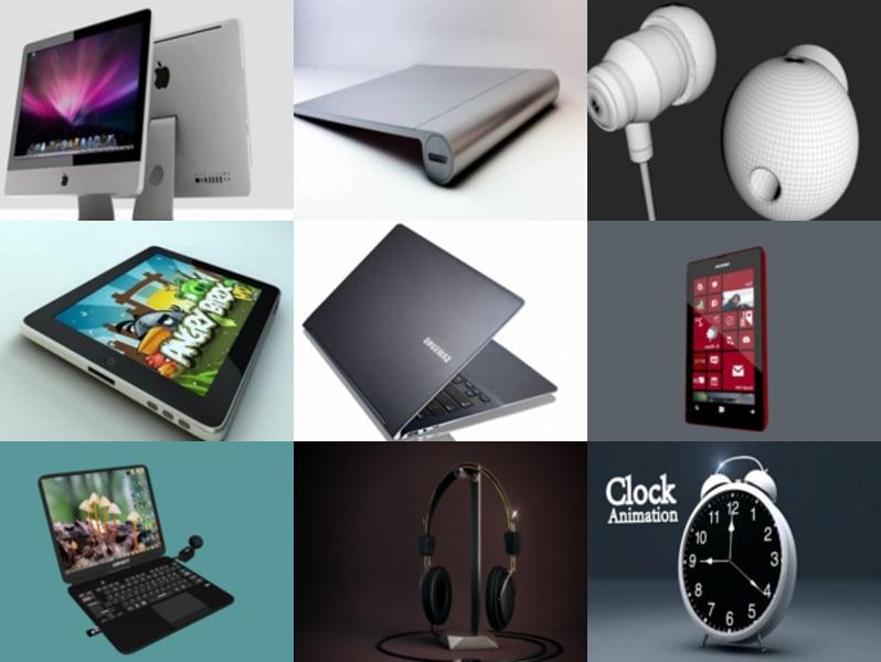 10 Free Cinema 4d 3D Models: Apple iMac, iPad, Laptop, Smartphone, Clock