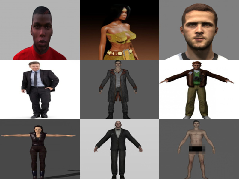 10 Realistic Blender Character Free 3D Models: Beauty Girl, Business Man, Footballer