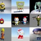 12 Cartoon Character Free Maya 3D Models: Minion, Angry Bird, Soldier, Kitty Cat…