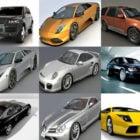 12 Hochwertiges Auto frei 3ds Max Modelle: Lamborghini Murcielago, Porsche 911, Ferrari, Bugatti Veyron, Maybach