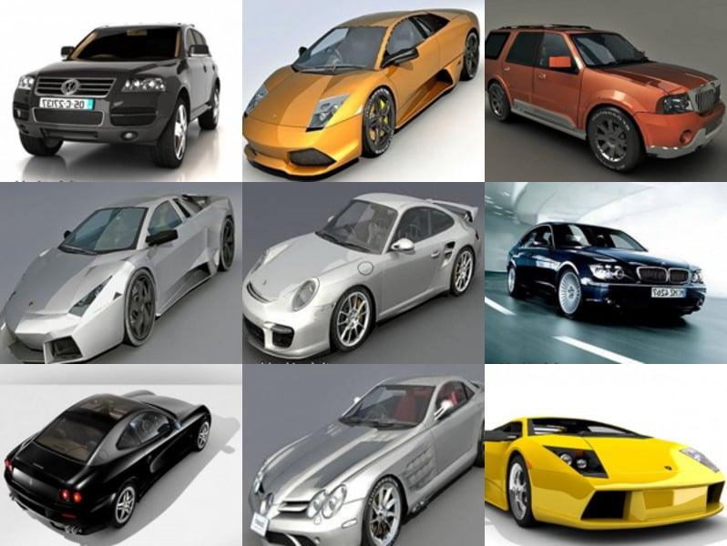 12 High Quality Car Free 3ds Max Models: Lamborghini Murcielago, Porsche 911, Ferrari, Bugatti Veyron, Maybach