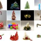 20 wysokiej jakości świątecznych dekoracji kolekcji bezpłatnych modeli 3D: sosna, pudełko prezentowe, dzwonek, świeca, bogactwo, jajko wielkanocne, bałwan