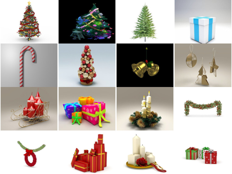 20 High Quality Christmas Decorating Free 3D Models Collection: Pine Tree, Gift Box, Bell, Candle, Wealth, Easter Egg, Snowman