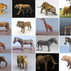 20 Realistic Land Animal Free 3D Models: Tiger, Lion, Giraffe, Zebra, Elephant, Bear