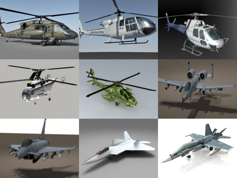 Top 10 3ds Max Aircraft 3D Models – 2020 Week 51: Helicopter, Fighter