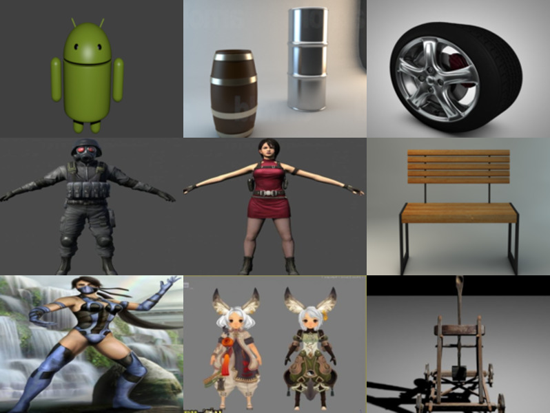 Top 10 Free FBX 3D Models: Woman, Girl, Soldier, Bench, House, Weapon