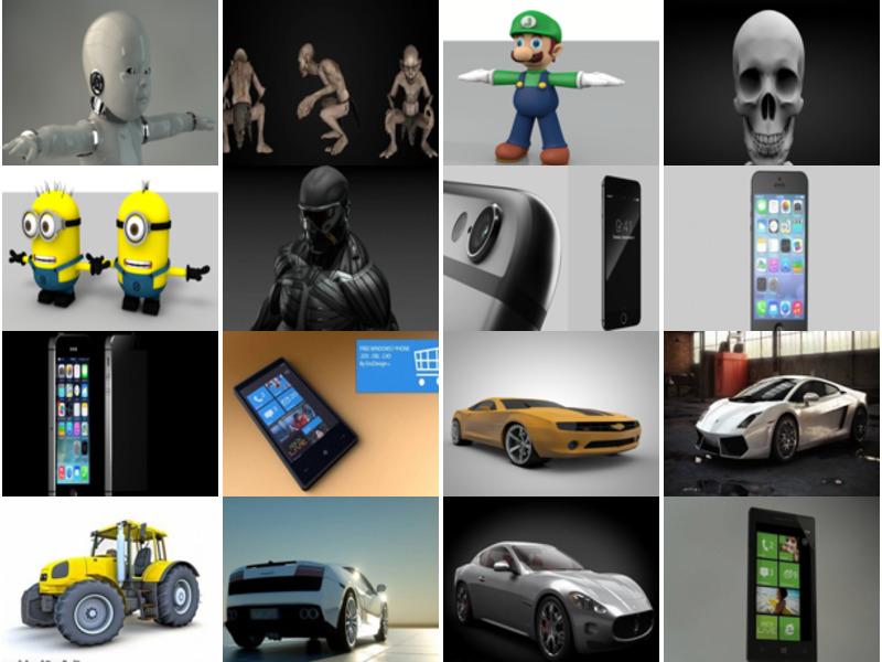 Top 30 Cinema 4D Free 3D Models 12/2020:  Character, Gadget, Phone, Car