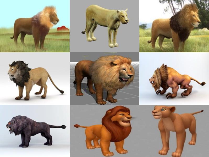 Top Lion 3D Models: Realistic Lion, Cartoon Lion, Statue Lion