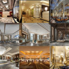 High Quality 10 Building Hall Interior Scene Free 3ds Max Models: Hotel Hall, Hallway, Showroom Hall, Reception Hall, Wedding Hall, Office Building Hall