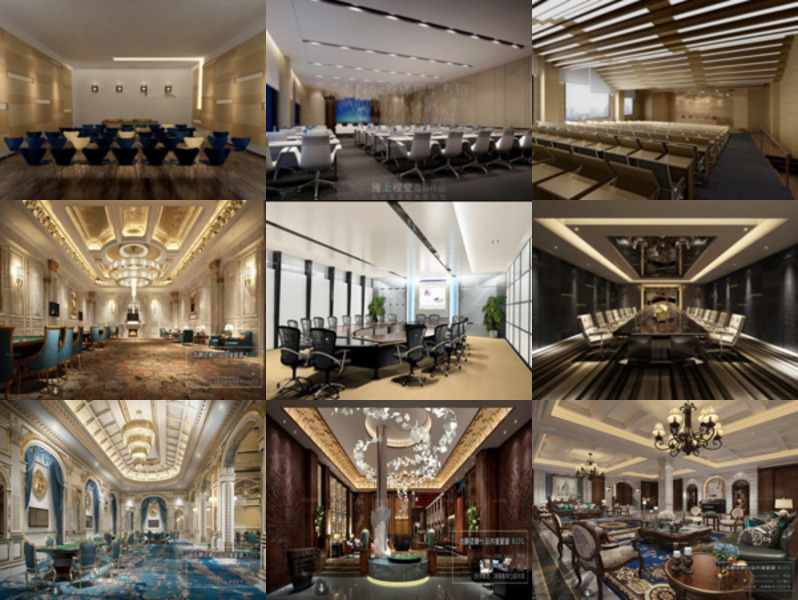 10 Conference Room 3ds Max Interior Scenes: Office Conference Space, Hotel Conference Design