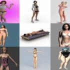 10 realistista kaunista bikinityttöhahmoa 3D-mallia: rantatyttö, alusvaatetyttö, kauneushahmo