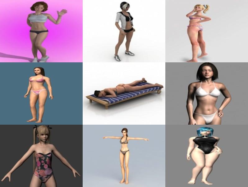 10 Realistic Beautiful Bikini Girl Character 3D Models: Beach Girl, Underwear Girl, Beauty Character
