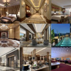10 Free Hotel Interior Scene 3ds Max Files: Bedroom, Restaurant, Lobby, Reception, Pool, Lounge Space, Toilet