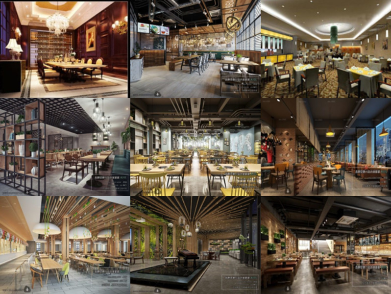 10 High Quality Restaurant 3ds Max Interior Scenes – Modern, Nordic, Chinese, Industrial, Luxury, Wedding style.