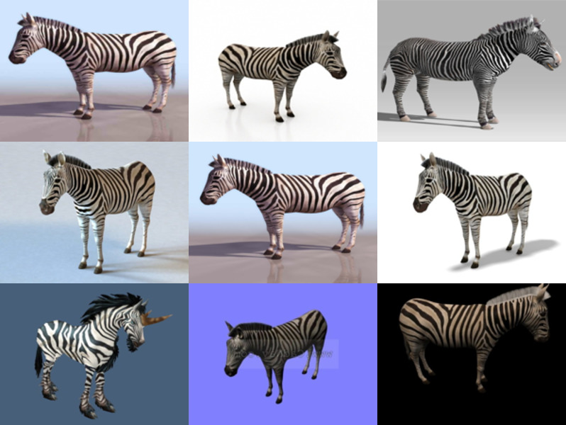 Download 10 Realistic Zebra Animal Free 3D Models – High Quality 3D Zebra Horse