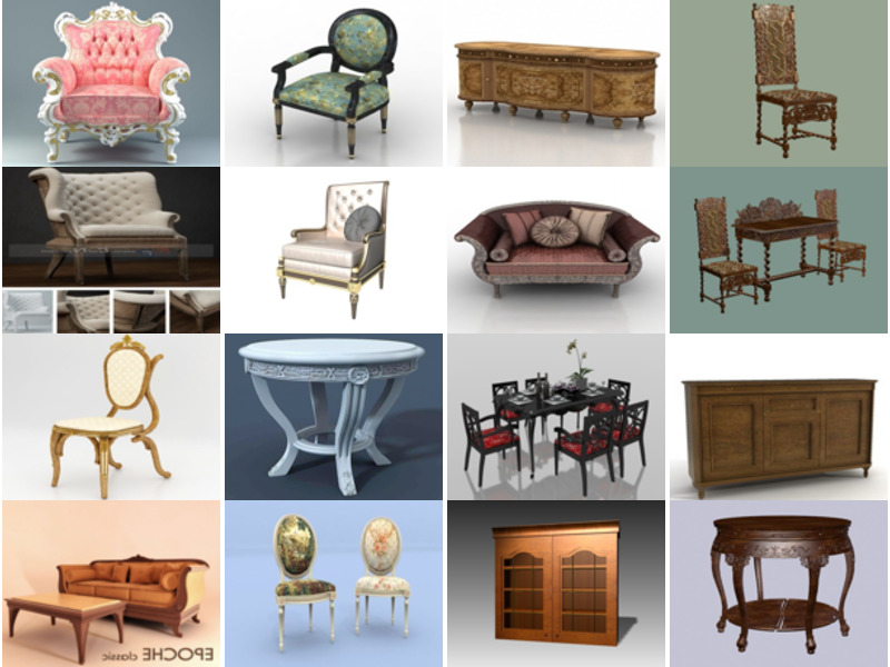 20 Files Free 3D Models with Antique Furniture Collection: Chair, Sofa, Table, Cabinet, Drawer