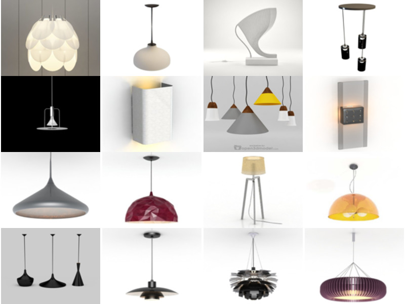 20 Minimalist Lamp Free 3D Models – Modernism Lighting Furniture Collection