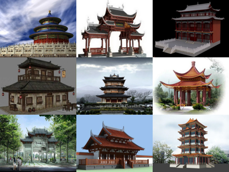 10 Free 3D Models Ancient Chinese Architecture Buildings: Temple, Pagoda, House, Gate, Pavilion