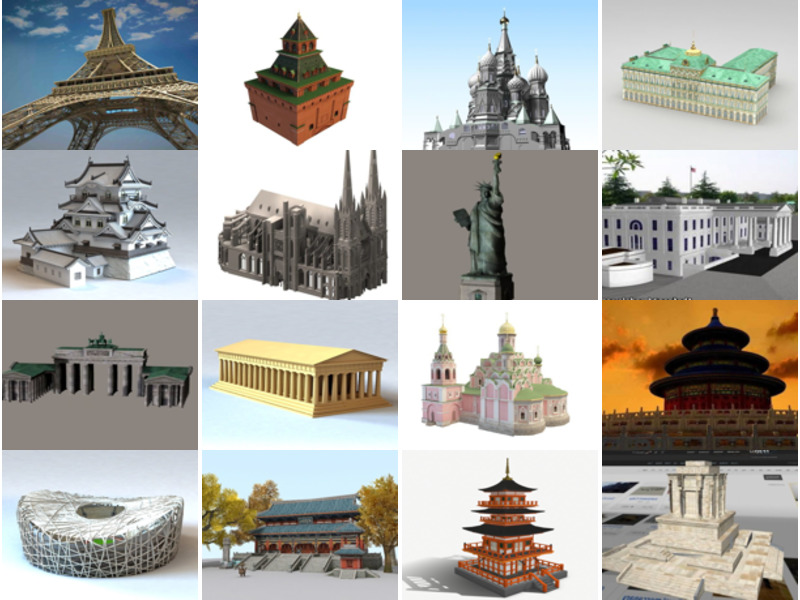 Download 20 Famous Architecture Buildings Free 3D Models: Tower, Temple, Church, Gate, Stadium