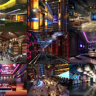 Høy kvalitet 12 Bar Club Interiør scener gratis 3ds Max Modeller: Karaoke Room, Bar Club, Drink Shop Bar Space, Bar Lobby Design.