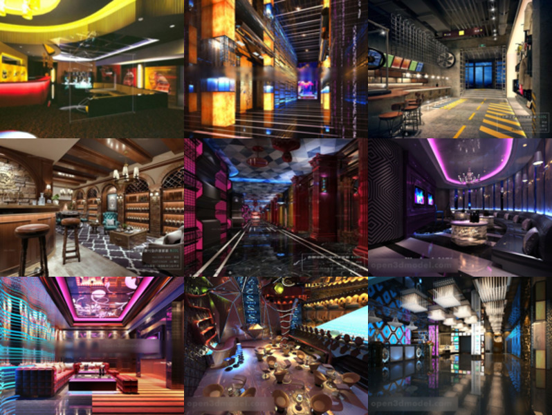 High Quality 12 Bar Club Interior Scenes Free 3ds Max Models: Karaoke Room, Bar Club, Drink Shop Bar Space, Bar Lobby Design.