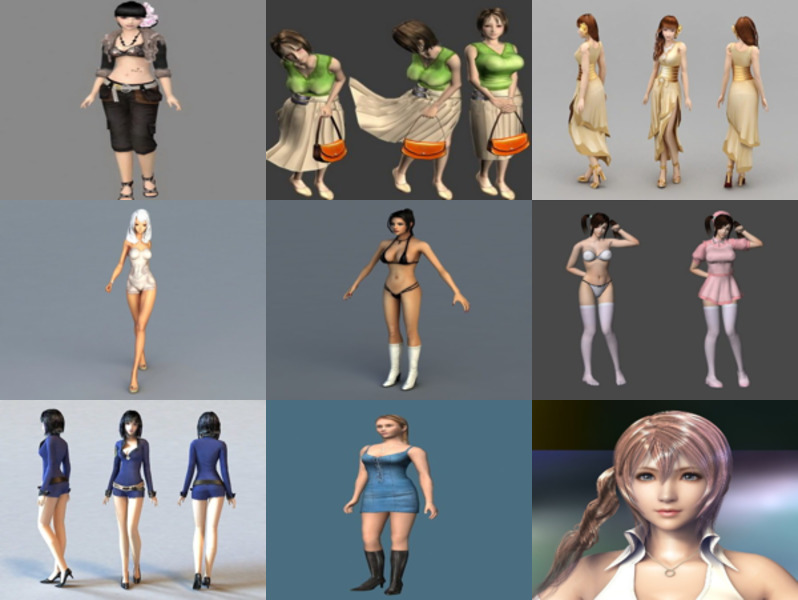 Download 10 Beautiful Girl Character 3D Models: Beauty Young Girl with Rigged, Underwear Girl, Bikini Girl, Housemaid, Police, Final Fantasy, Preppy Girl…