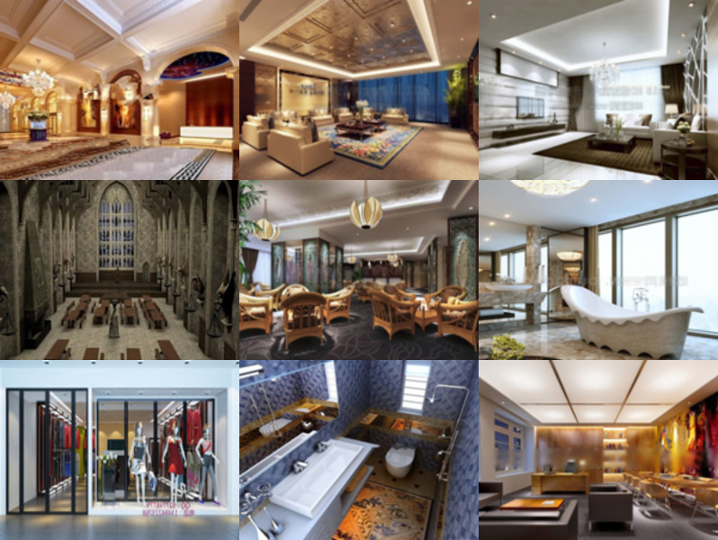 Download 10 Realistic Free 3ds Max Interior Scenes: Living Room, Hall, Restaurant, Bathroom, Office, Store.