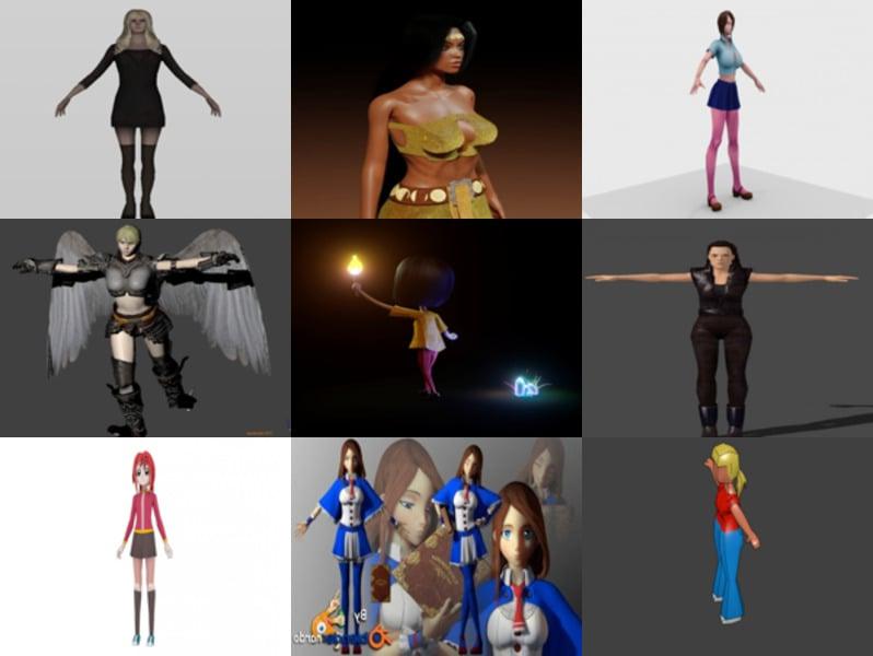 Download 10 Girl Character Blender Free 3D Models 2021: Realistic, Cartoon & Animal Girls