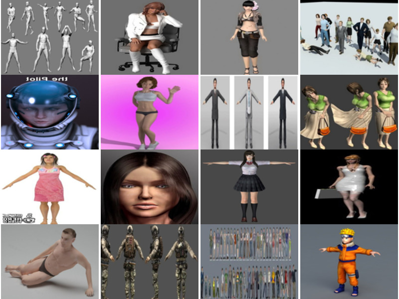 20 Most Viewed 3ds Max Character Free 3D Models: Beautiful Girl, Human Body, School Girl, Children, Soldier, Police…